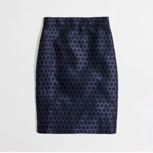 J. Crew Navy Polka Dot The Pencil Skirt Size 2